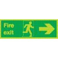 Safety Sign Niteglo Fire Exit Running Man Arrow Right 150x450mm Self-Adhesive NG26A/S