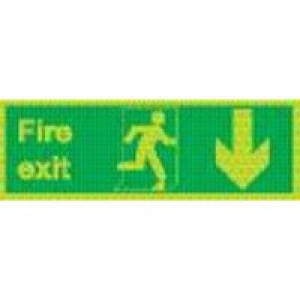 Safety Sign Niteglo Fire Exit Running Man Arrow Down 150x450mm Self-Adhesive NG28A/S