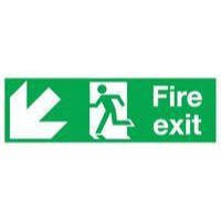 Safety Sign Fire Exit Running Man Arrow Down Left 150x450mm Self-Adhesive E97SS