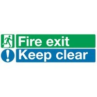 Safety Sign Fire Exit Keep Clear 150x450mm PVC EC08S/R