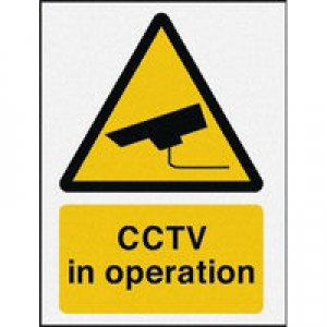 Warning Sign CCTV in Operation PVC CTV3B/R 400x300mm