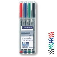 Staedtler Lumocolor Fine Tip Water Soluble Pen Wallet of 4 316-WP4