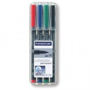 Staedtler Lumocolor Medium Tip Permanent OHP Pen Assorted Wallet of 4 317-WP4