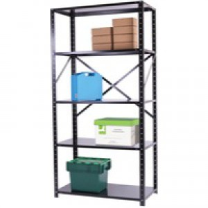 Storage Solutions Heavy Duty Bolted 5-Shelf Unit D500mm Black ZZHS5BK200A10050
