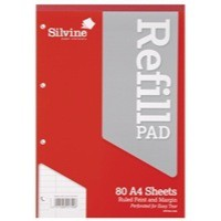 Silvine Refill Pad A4 Punched 4-Hole Head Bound 80 Leaf Ruled Feint and Margin A4RPFM