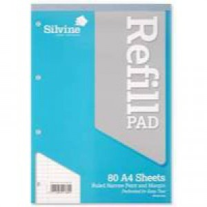 Silvine Refill Pad A4 Punched 4-Hole Head Bound 80 Leaf Ruled Narrow Feint and Margin A4RPNM