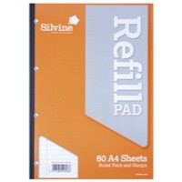 Silvine Refill Pad A4 Punched 4-Hole 80 Leaf Ruled Feint and Margin Side Bound A4SRPFM