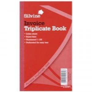 Silvine Triplicate Invoice Book 210x127mm Pk6 619