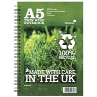 Silvine Recycled A5 Twin Wire Notebook Green 120 PagesR103
