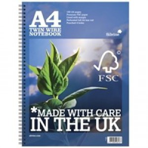 Silvine Twin Wire Notebook Blue A4 160 Pages R202 (FMS)