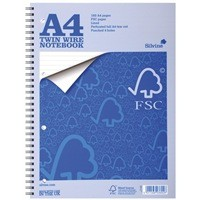 Silvine A4 Twin Wire Notebook 52 Leaf FSCTW80 (FMS)