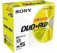 Sony DVD+RW 4.7Gb Jewel Case Pack of 5 5DPW120A