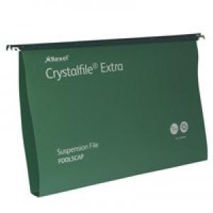Twinlock Crystalfile Extra Polyprop Suspension File Foolscap 30mm Capacity Green Box 25 Code 70631