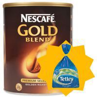 Nescafe Gold Blend Coffee 750gm x2 with FOC Tetley One Cup Tea Bag Pack of 440