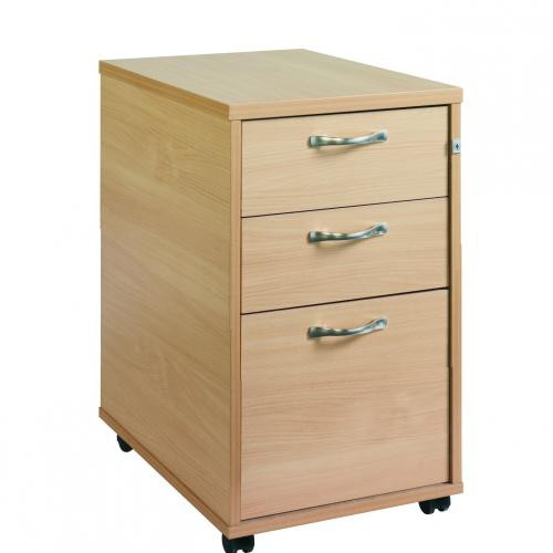 Maestro 25 PL Tall Mobile Pedestal Lockable 3 Drawer with Handles Beech