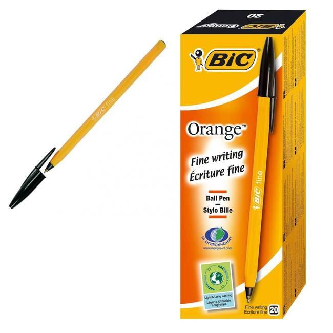 Bic Ball Pens Fine Black Box 20 (Orange)