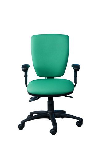 ACT2 POSTURE CHAIR HEAVY DUTY 3 LEVER MECHANISM HEIGHT ADJUSTABLE ARMS INFLATABLE PUMP LUMBAR SEAT SLIDE POLISHED BASE (FABRIC COLOUR)