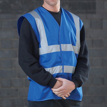 Hi Viz Waistcoat Blue Sizes S/M/L/XL/2XL/3XL please specify with order