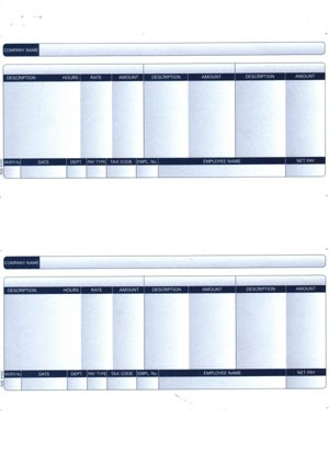 1 PART PAYSLIP - PLAIN (2 PER A4 SHEET) pk 1000 payslips