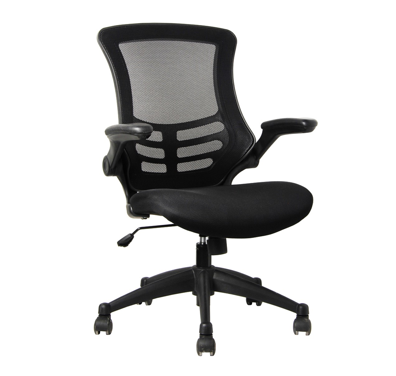 Deluxe Mesh Operator Chair with Folding Arms Black