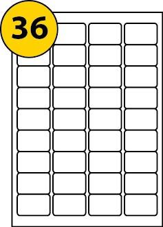 A4 Sheet Labels 36 per sheet 48.9 x 29.6mm pk500