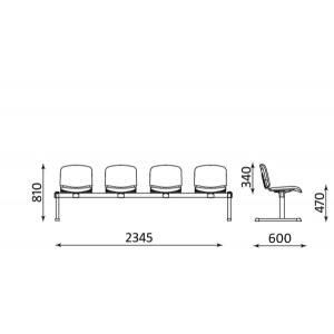 Image for 4 Seater Beam Waiting Area Seating Nowy V98 Black Frame
