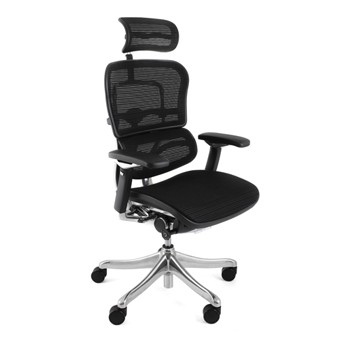 Ergohuman Task Chair with Mesh Back and Mesh Seat Mesh Headrest Mesh Back Mesh Seat Polished Aluminium Frame Polished Aluminium Base Black Castors Back Height - Raise or lower the backrest to support the lumbar (lower back) region of your spine Sy
