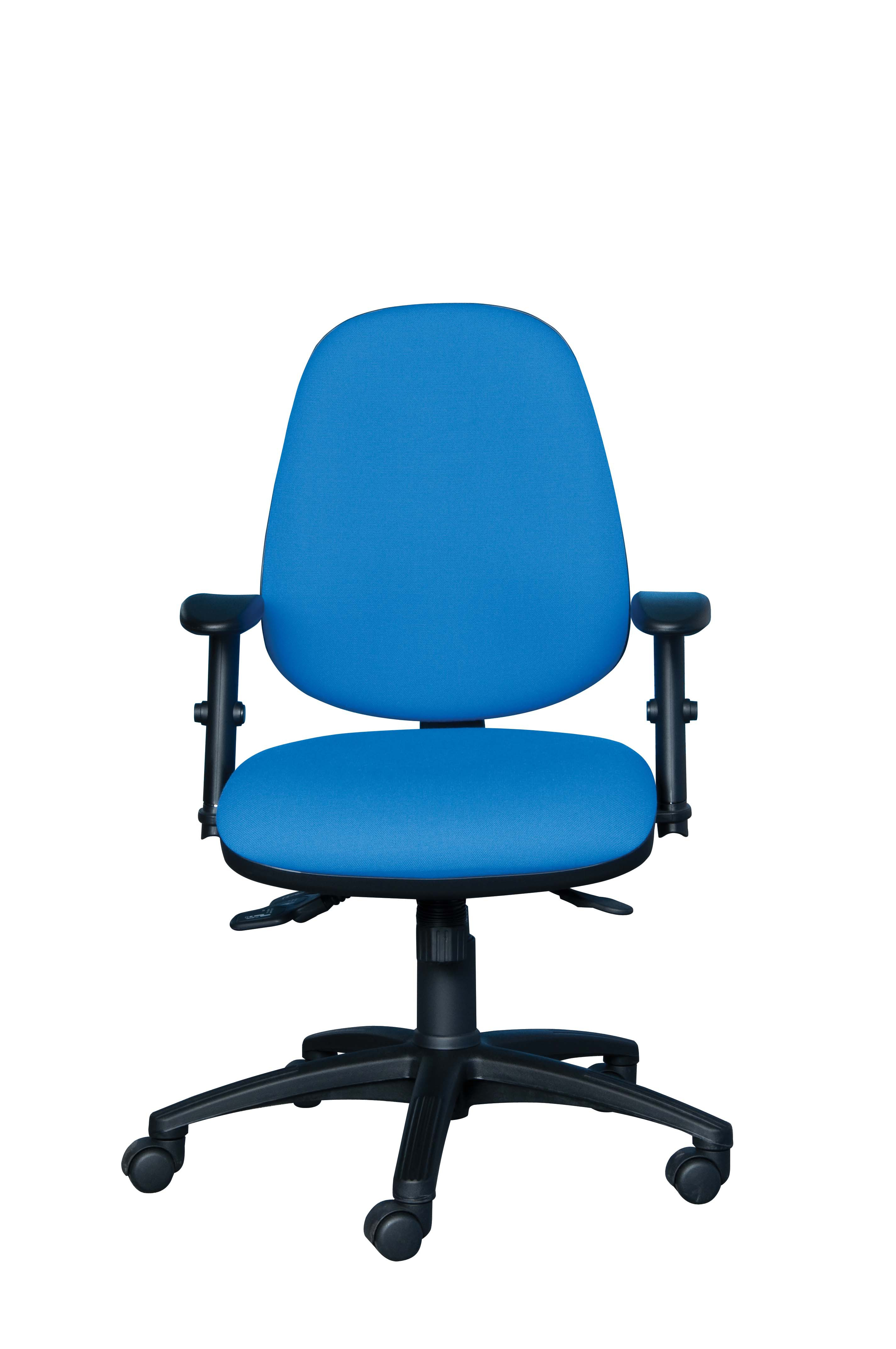 ACTIV HIGH BACK POSTURE CHAIR HEAVY DUTY 3 LEVER MECHANISM FIXED LOOP ARMS SEAT SLIDE (FABRIC COLOUR)