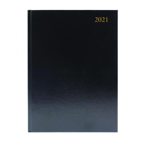 A4 Day To A Page 2021 Appointment Diary Black
