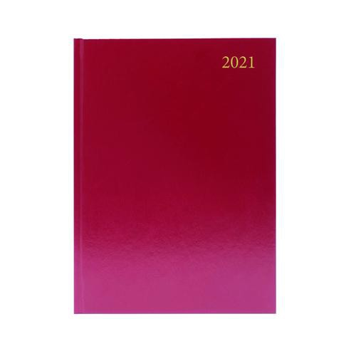 A5 Day To A Page 2021 Diary Burgundy