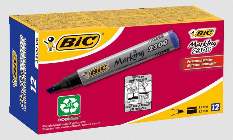 Bic Permanent Chisel Tip Blue Markers