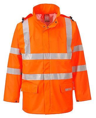 Portwest FR41 Mens FR Jacket Orange Hi Vis Flame Retardant Waterproof Sealtex Workwear - Size Large