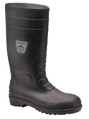 Black Portwest Total Safety Wellington Work Boots Steel Toe Cap Midsole Size 8 (42)