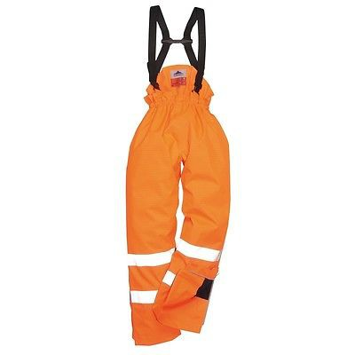Portwest Orange Flame Resist Antistatic HI VIZ Waterproof Trouser Pant Safety Work S780 - Size Large