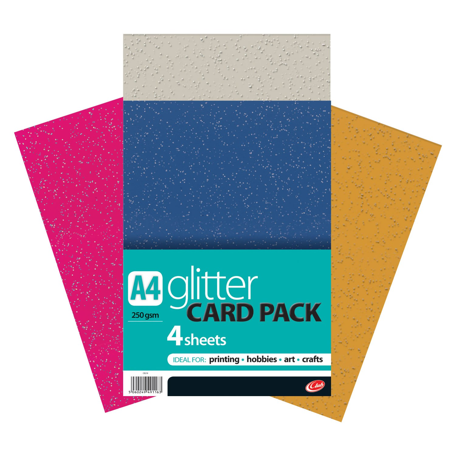 A4 Glitter Card 4sheets CB218