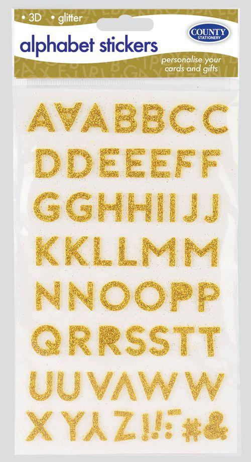 3D GOLD GLITTER ALPHABET STICKERS