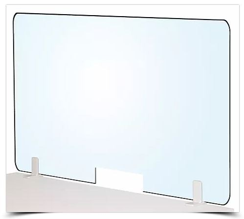 H700 Desk Mounted Acrylic Barrier Screen - With Opening 10cm x 30cm - Various Widths Available - POA -  1 x H700xW1800 @ £124