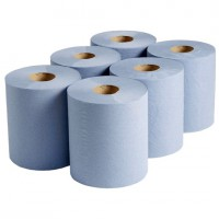 Image for Blue 2 ply centrefeed paper roll 150m (Pack 6)