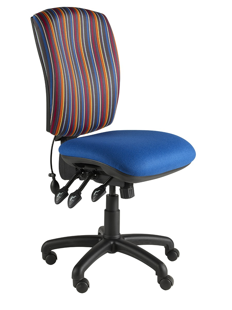 Task Square Back fully loaded Oper Chair 3 Lever + Pump & Slide Fabric Col 1 NO ARMS