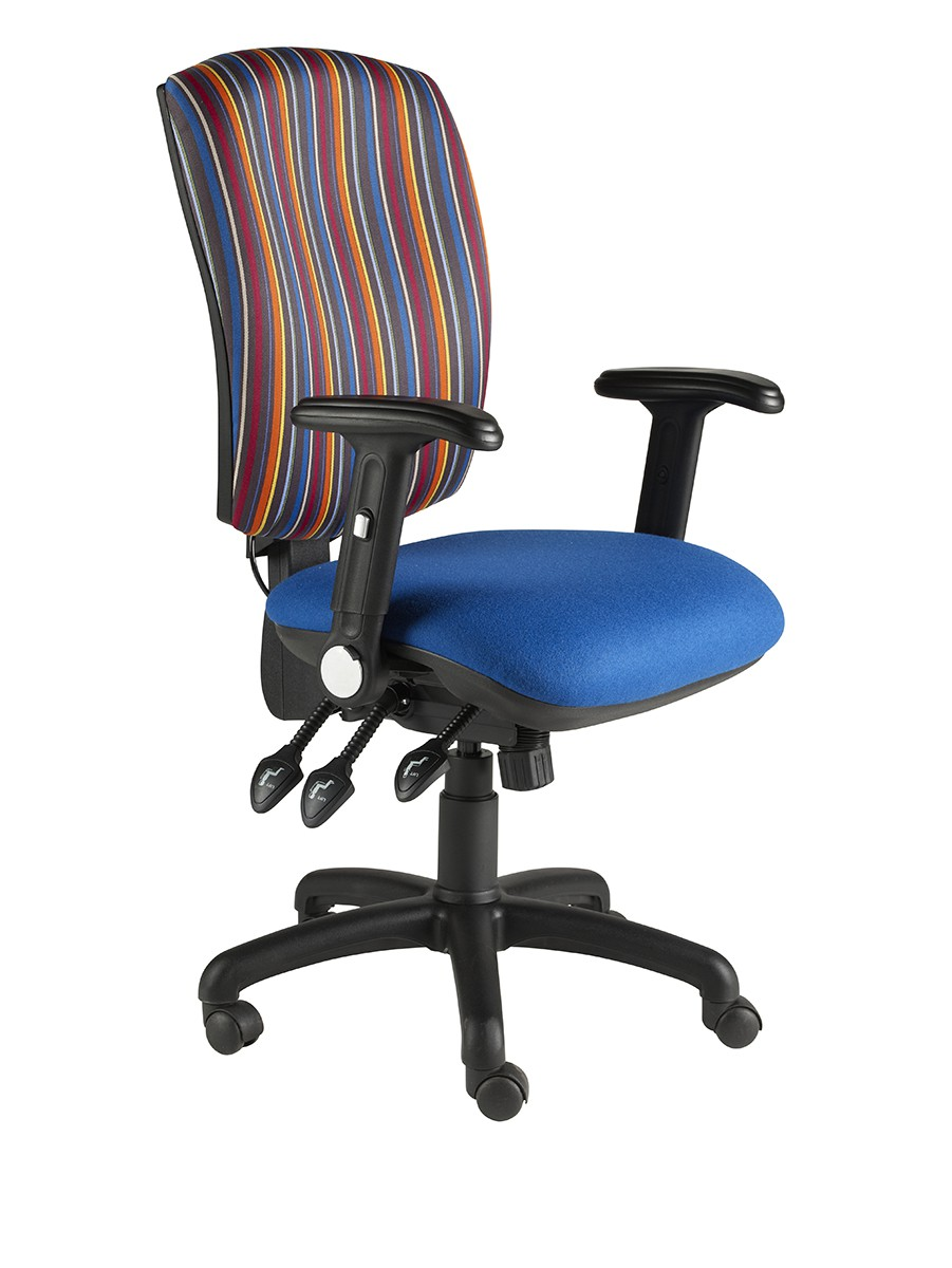 Task Square Back fully loaded Oper Chair 3 Lever + Pump & Slide Fabric Col 1 FOLDING ARMS