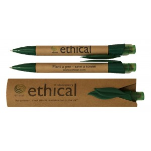 Image for 100% Certified Biodegradable Ethstat Tree Pen – Save 1 Tonne of CO2 – Grow a Pine Tree pack of 10