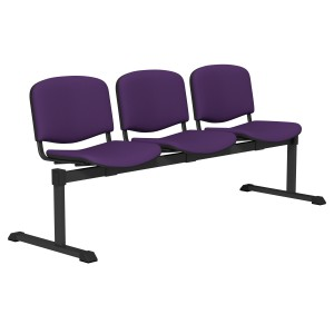 Image for 3 Seater Beam Waiting Area Seating Nowy V98 Black Frame
