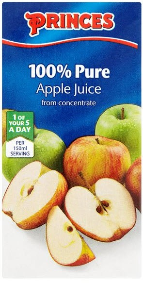 Princes Pure Unsweetened Apple Juice from Concentrate 200ml Case 27