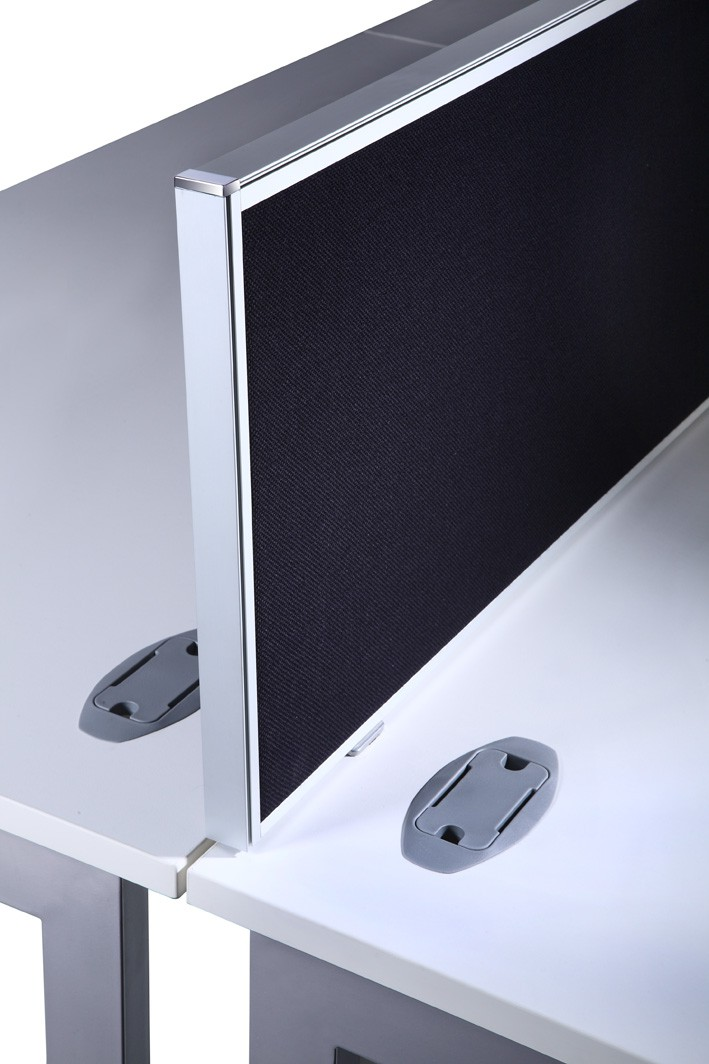 770mm wide Desk Mounted Screen complete with 2 G clamp fixing brackets in Jet Black Fabric