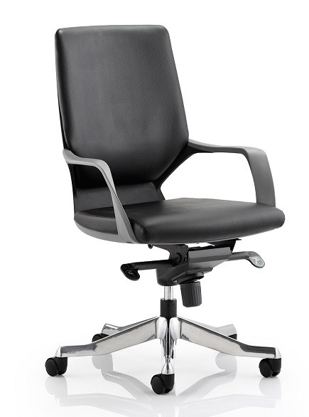 Executive Black Chair Black Leather Medium Back With Arms