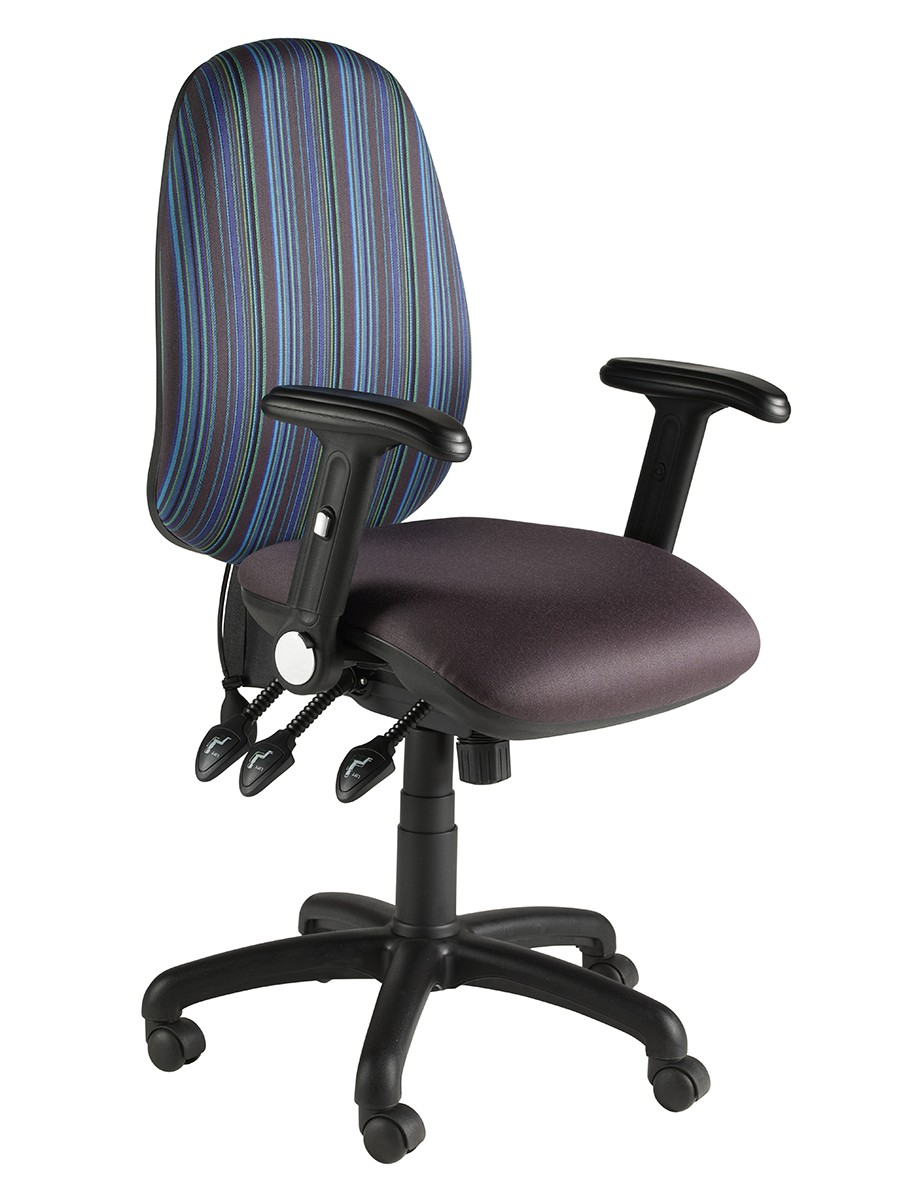 Task High Back Oval Fully Loaded Operator Chair Folding Arms 3 Lever + Pump & Slide Fabric Col 1