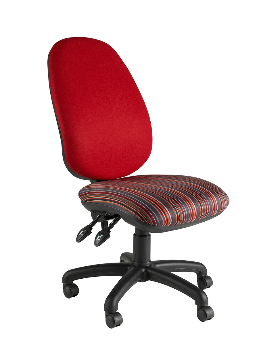 High Back Oval Operator Chair 2 Lever Fabric Col 1 NO ARMS