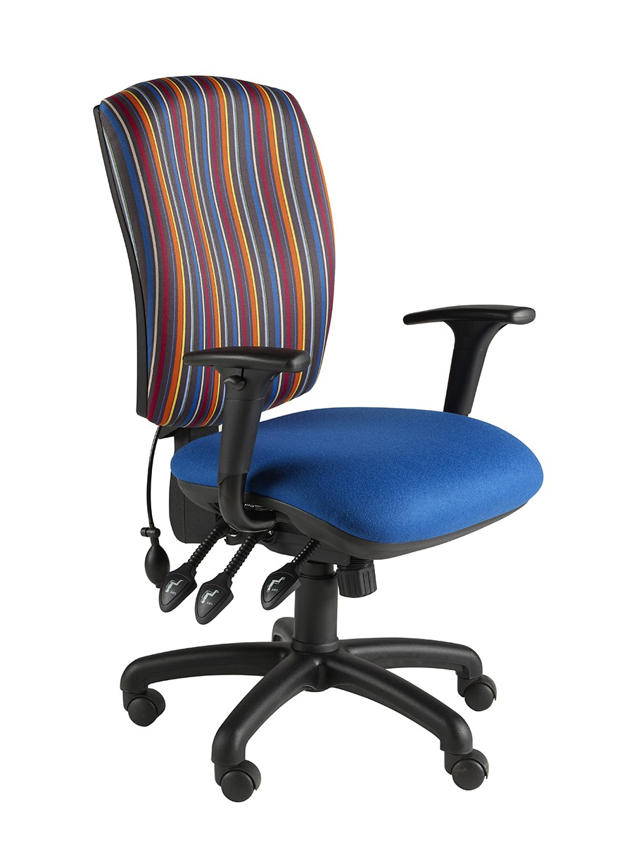 Task Square Back fully loaded Oper Chair 3 Lever + Pump & Slide Fabric Col 1 HEIGHT ADJ ARMS