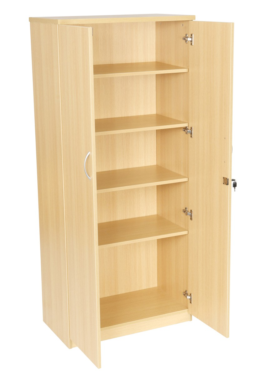 1800mm High Double Door Cupboard with 4 Shleves Light Oak (WxDxH) 800x450x1800mm