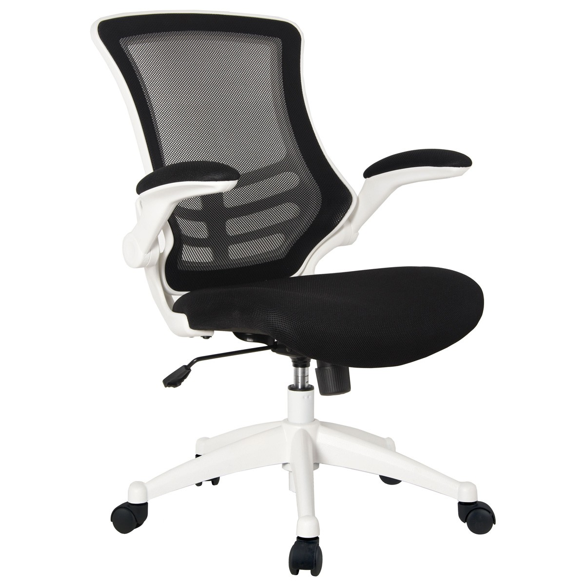 Deluxe Mesh Operator Chair with Folding Arms White